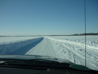 Driving down the ice road on the Kuskokwim River